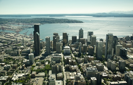 Bright cityscape of downtown Seattle as seen from 1,500 feet above.