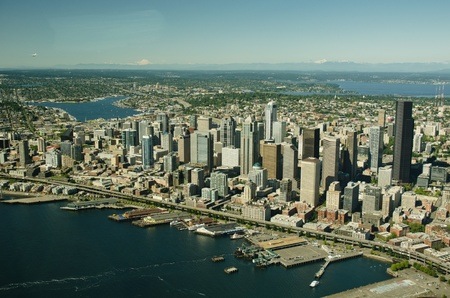 Seattle downtown and waterfront on a clear, sunny day as seen from the air