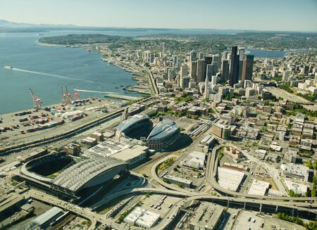 Seattle downtown in background, Football and Baseball Fields in the foreground.