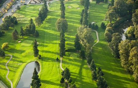 Brightly lit golf course at sunset in Washington