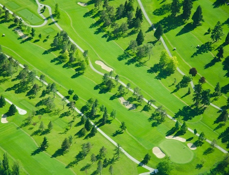 Golf Course in the Late Afternoon - Aerial