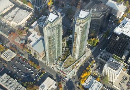 Twin buildings in Bellevue, WA taken from an airplane