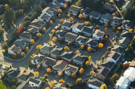 Aerial perspective of a small community in autumn