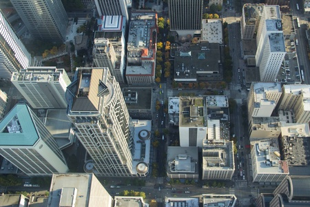Overhead Aerial view of downtown grid in Seattle, WA