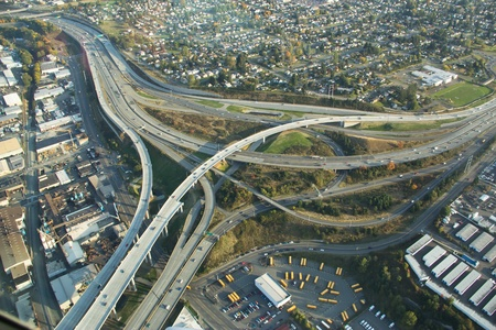 junction: Aerial view of highway branching off from major interstate