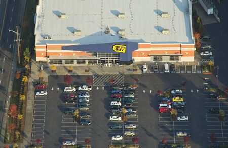 View from the air of Best Buy and parking lot