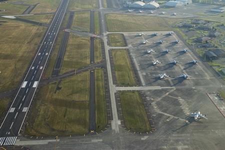 空軍基地ワシントン州タコマでの空中写真 報道画像