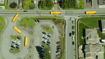 Five Buses Leaving School - Aerial