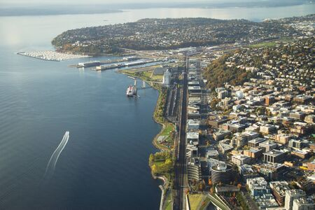 industrial park: View up 15th Ave along Elliott Bay shoreline into Queen Anne and Magnolia in Seattle