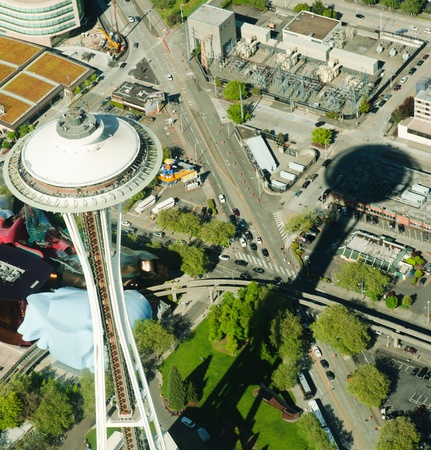 Aerial view of Space Needle, EMP and Monorail at Seattle Center.