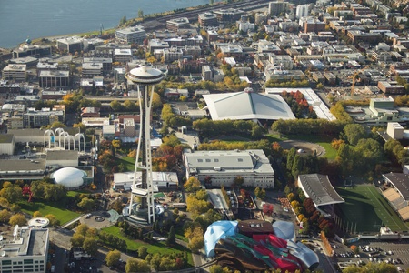 Space Needle, Key Arena, EMP and Pacific Science Center from the air 新聞圖片