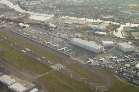 Aerial view of Boeing aircraft at final flight test stage at Boeing Field
