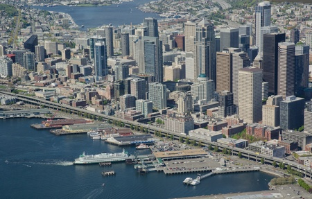 Aerial view of Seattle waterfront 新聞圖片