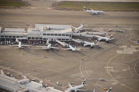 Aerial view of Alaska Airlines hub at Seattle-Tacoma Internatonal