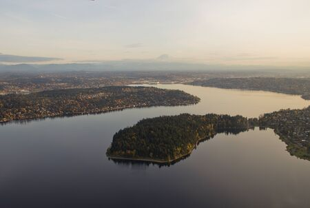 Aerial view of Seward park in Lake Washington at sunset