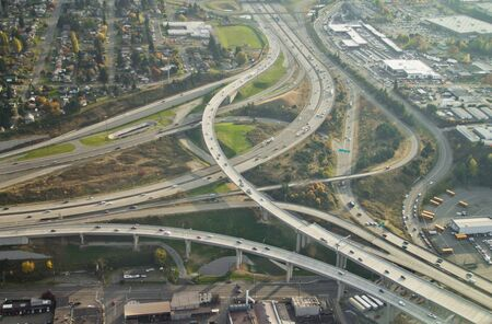 SR16 ends at I-5 in Tacoma, WA - aerial view Stock Photo - 11260384