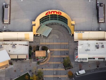 Aerial view of large entranceway for AMC Theater Company