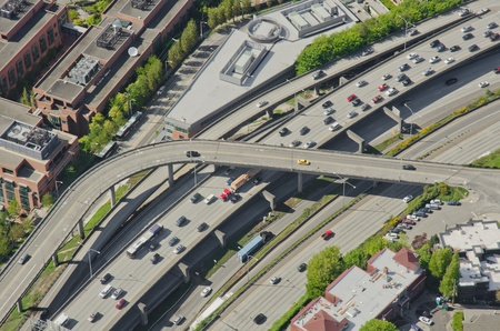 Aerial perspective of heavy traffic one direction and light traffic the other Stock Photo