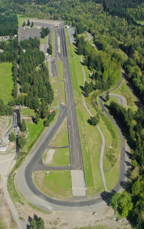 Aerial perspective of race track on sunny day photo