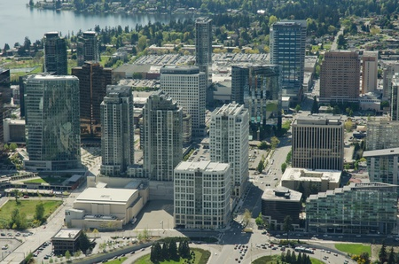 Aerial view of buildings in Bellevue, WA