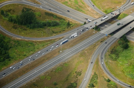 junctions: Interstate junction during rush hour traffic