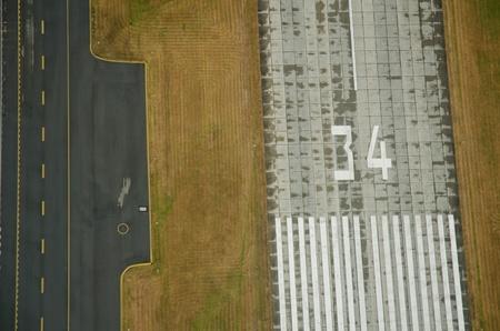 滑走路、誘導路、および草の航空写真