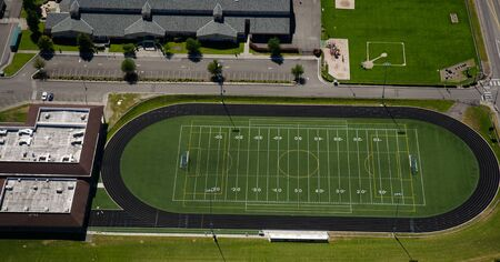 Track and field area at a school facility
