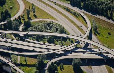 flyover: Aerial perspective of criss-crossing highways Stock Photo