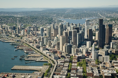 Seattle waterfront during the summer