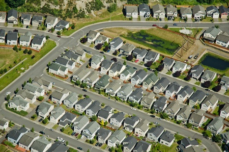 Aerial view of new houses in developing neighborhood photo