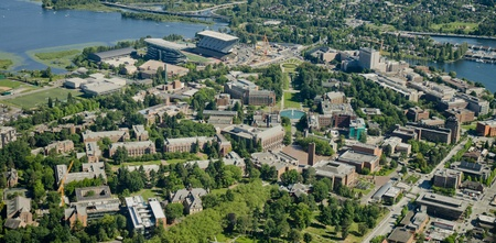 Aerial view of the University of Washington from the Northwest
