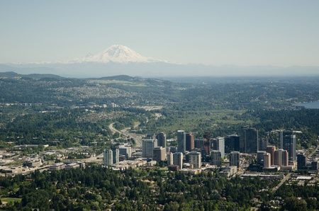 Bellevue,WA and Mt Rainier on sunny summer day Editorial