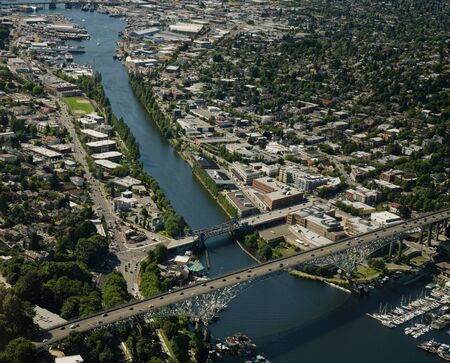 Aerial view of highway bridge crossing a ship canal