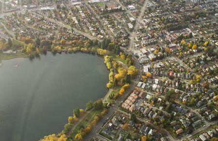 Small lake in urban area at sunset 版權商用圖片