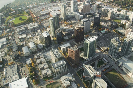 Aerial perspective of buildings in downtown Bellevue, WA