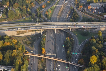 junctions: Aerial view of a complex interchange at sunset