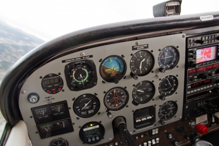 cockpit: Various instruments and systems on airplane in flight