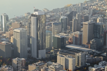 Aerial view of Seattle downtown in the late afternoon