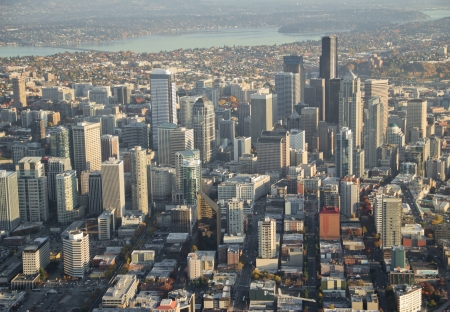 Aerial view of large downtown area in Seattle