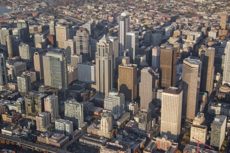 シアトルの大きな高層ビルの空気遠近法 写真素材