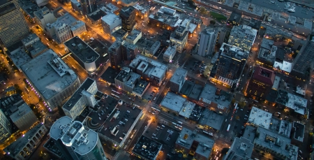 Aerial view of lights at dusks in Seattle, WA
