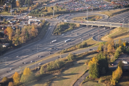Aerial view of light commuting traffic passing an intersection