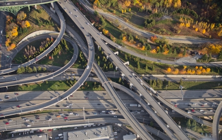 Aerial view of vivid colors at a major, complex interstate junction photo