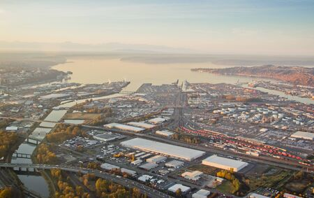 Aerial view of a large shipping port in Washington