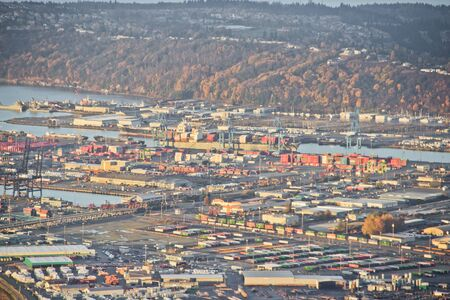 Aerial view of shipping operations at large shipping port