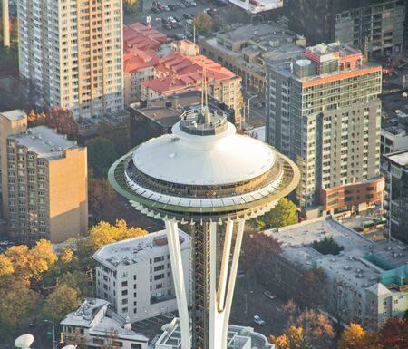 Aerial view of Space Needle with buildings in background