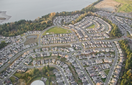 Aerial view of houses in newly constructed area photo
