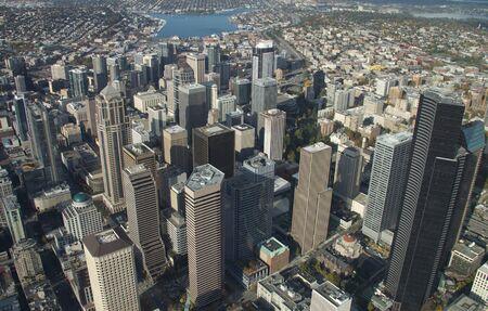 シアトルのダウンタウンの高いビュー 写真素材
