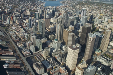 Downtown Seattle from 1,500 feet Stock Photo