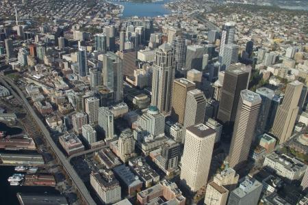 Downtown Seattle from 1,500 feet Standard-Bild
